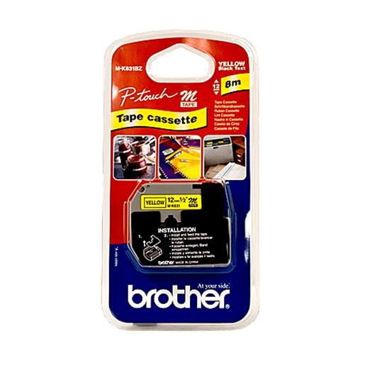 Brother P-Touch M-K631BZ 12mmx8m BlackOnYellow Plastic Labelling Tape Ref MK631BZ *3to5 Day Leadtime*