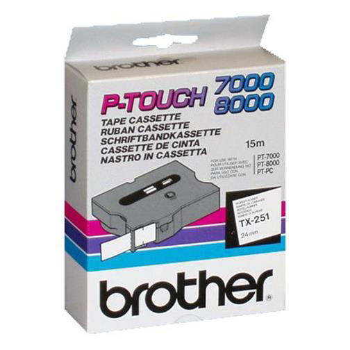 Brother P-Touch TX-251 24mmx15m Black On White Labelling Tape Ref TX251 *3to5 Day Leadtime*