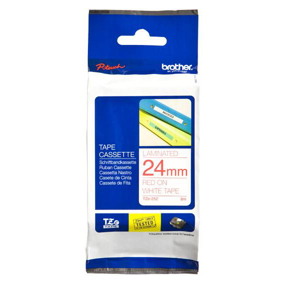 Brother P-Touch TZe-252 24mmx8m Red On White Laminated Labelling Tape Ref TZE252 *3to5 Day Leadtime*