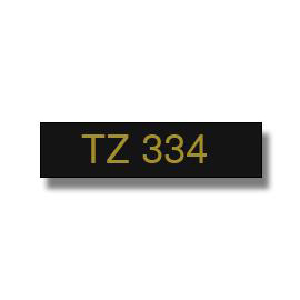 Brother P-Touch TZe-334 12mmx8m Gold On Black Labelling Tape Ref TZE334 3to5 Day Leadtime