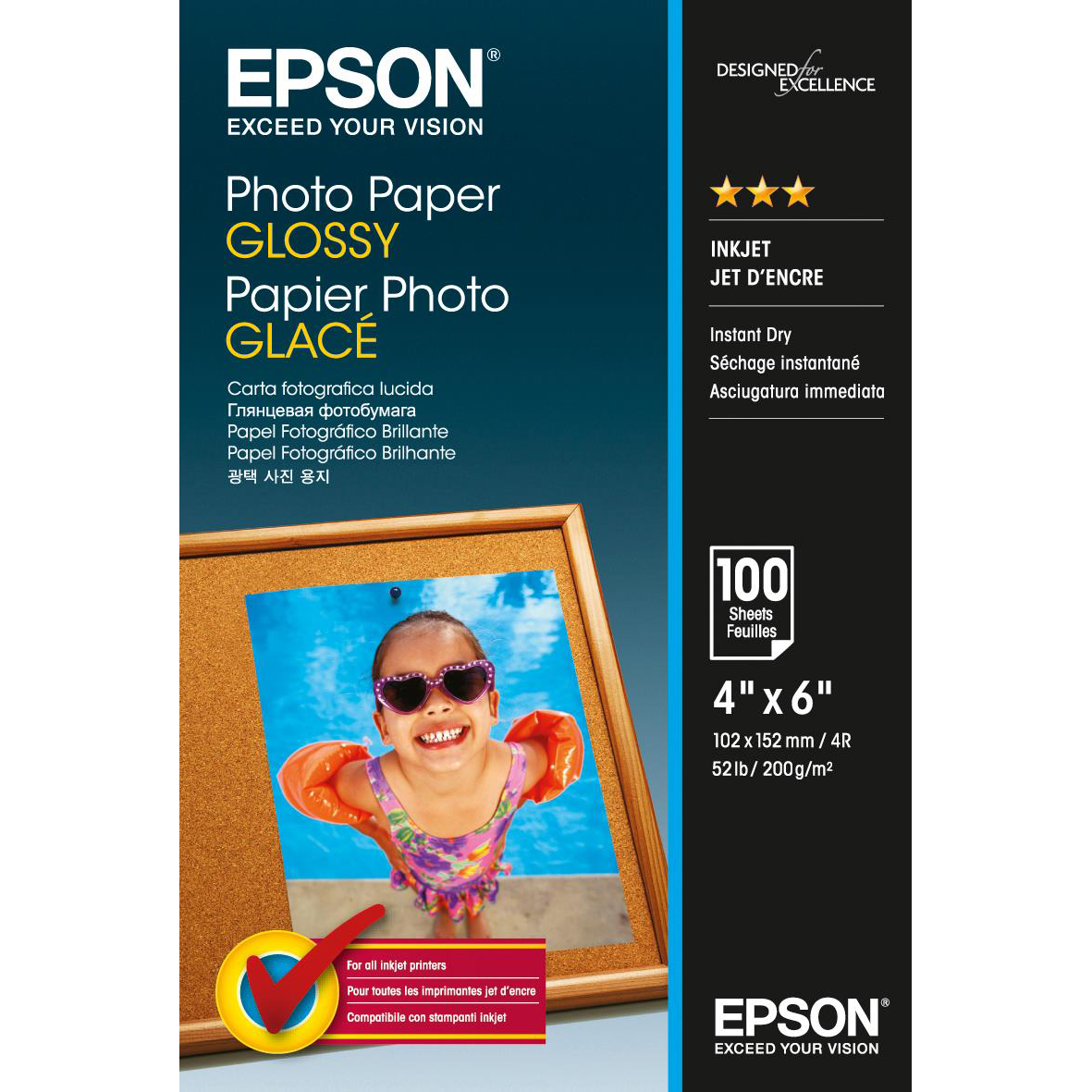 Epson Photo Paper Glossy 200gsm 100x150mm Ref C13S042548 100 Sheets *3to5 Day Leadtime*
