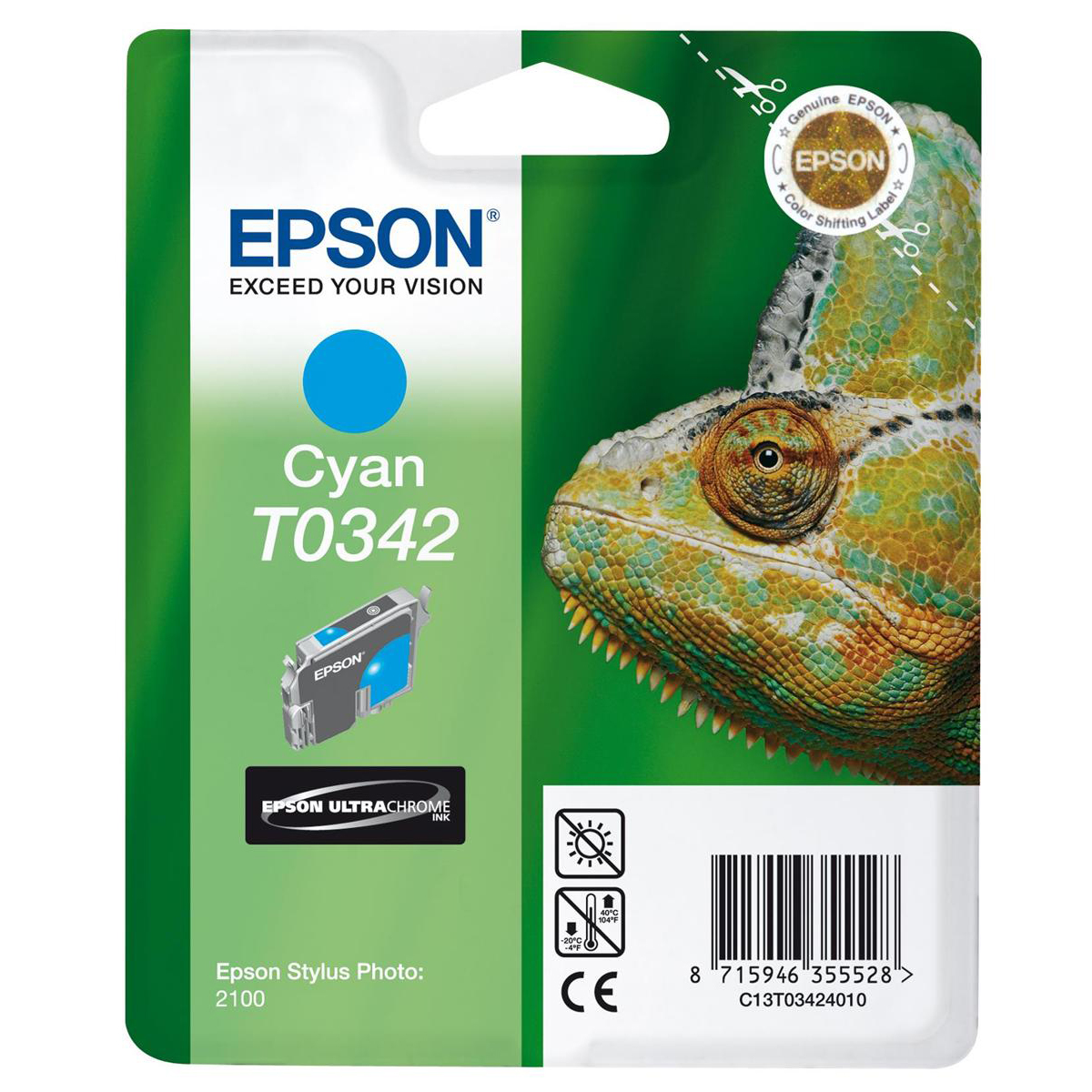 Epson T0342 Inkjet Cart Chameleon Page Life 440pp 17ml Cyan Ref C13T03424010 3to5 Day Leadtime
