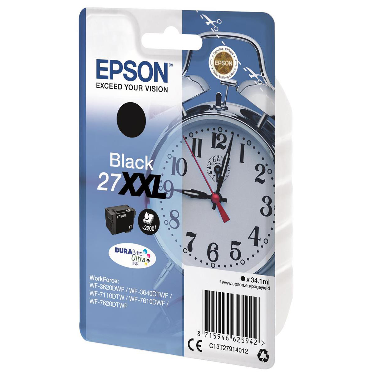 Epson 27XXL Inkjet Cartridge Alarm Clock XHY Page Life 2300pp 34.1ml Black Ref C13T27914012