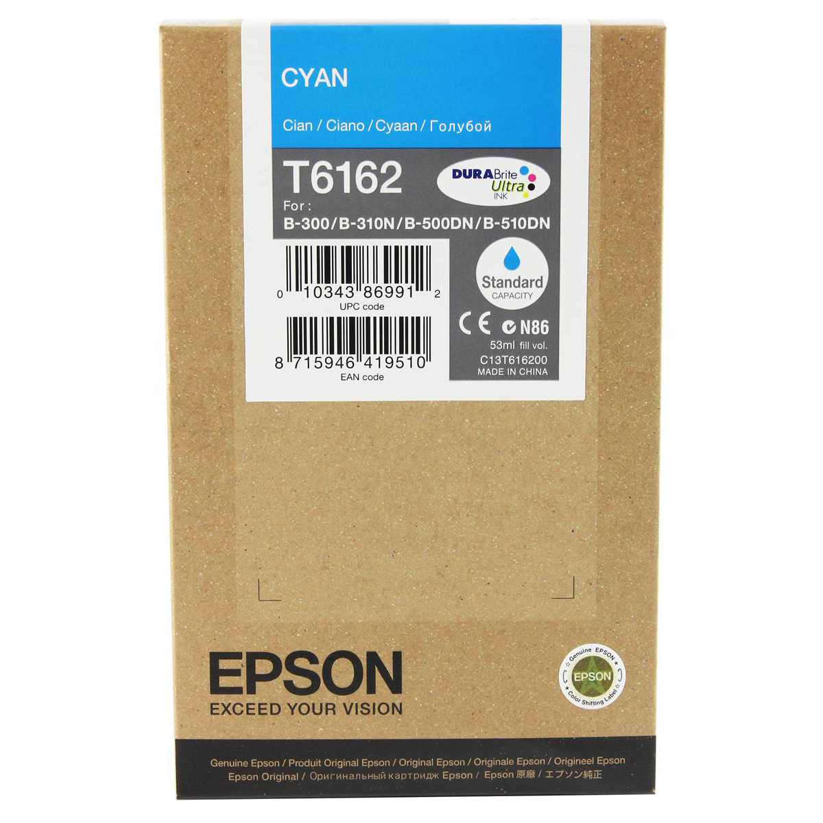 Epson T6162 Inkjet Cartridge Page Life 3500pp 53ml Cyan Ref C13T616200 3to5 Day Leadtime