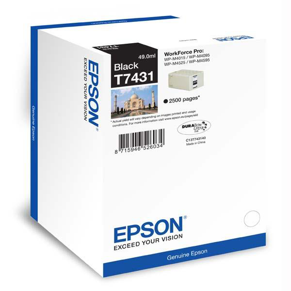 Epson T7431 Inkjet Cartridge 2500pp 49ml Black Ref C13T74314010 3to5 Day Leadtime