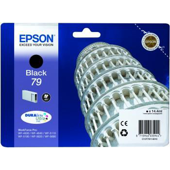 Epson T7911 Inkjet Cartridge Pisa 900pp 14.4ml Black Ref C13T79114010 3to5 Day Leadtime