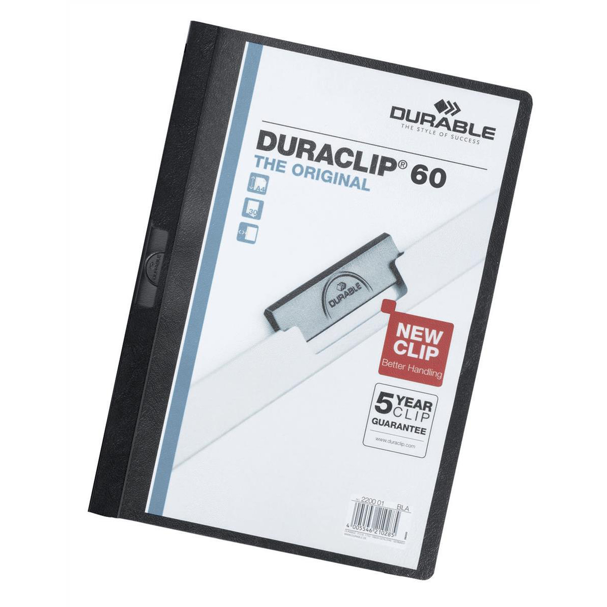 Part Files Durable Duraclip Folder PVC Clear Front 6mm Spine for 60 Sheets A4 Black Ref 2209/01 [Pack 25]