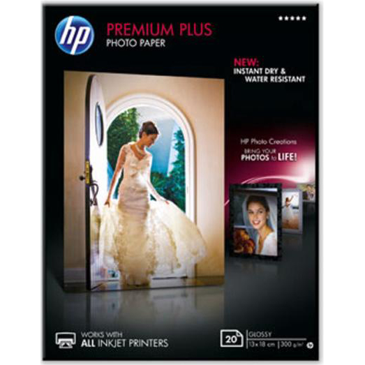 Photo Paper HP Premium Plus Photo Paper Glossy 300gsm130x180mm Ref CR676A 20 Sheets *3to5 Day Leadtime*