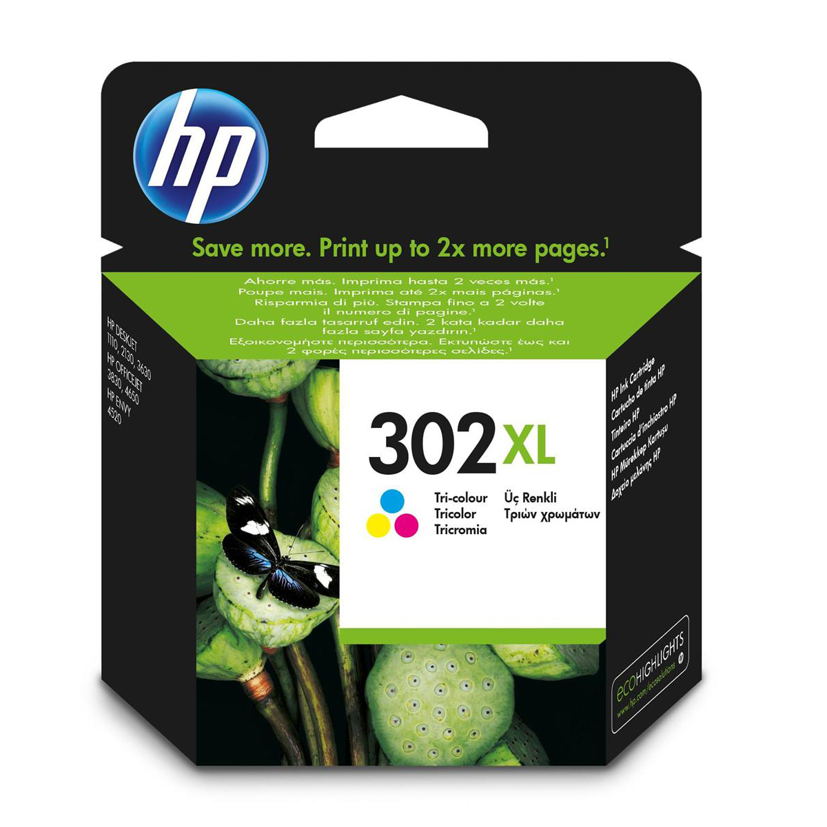 Hewlett Packard [HP] No. 302XL Ink Cartridge Tri Colour Ref F6U67AE
