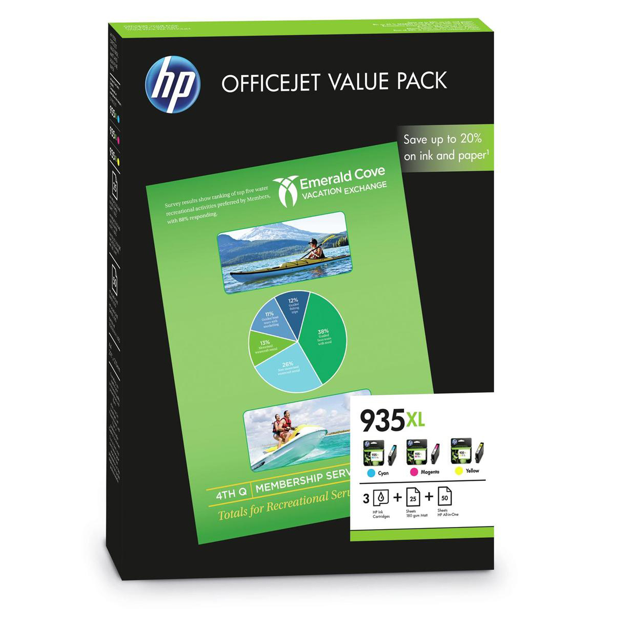 Hewlett Packard [HP] No. 935XL Ink Cartridge Officejet Value Pack C/M/Y Plus A4 Paper Ref F6U78AE