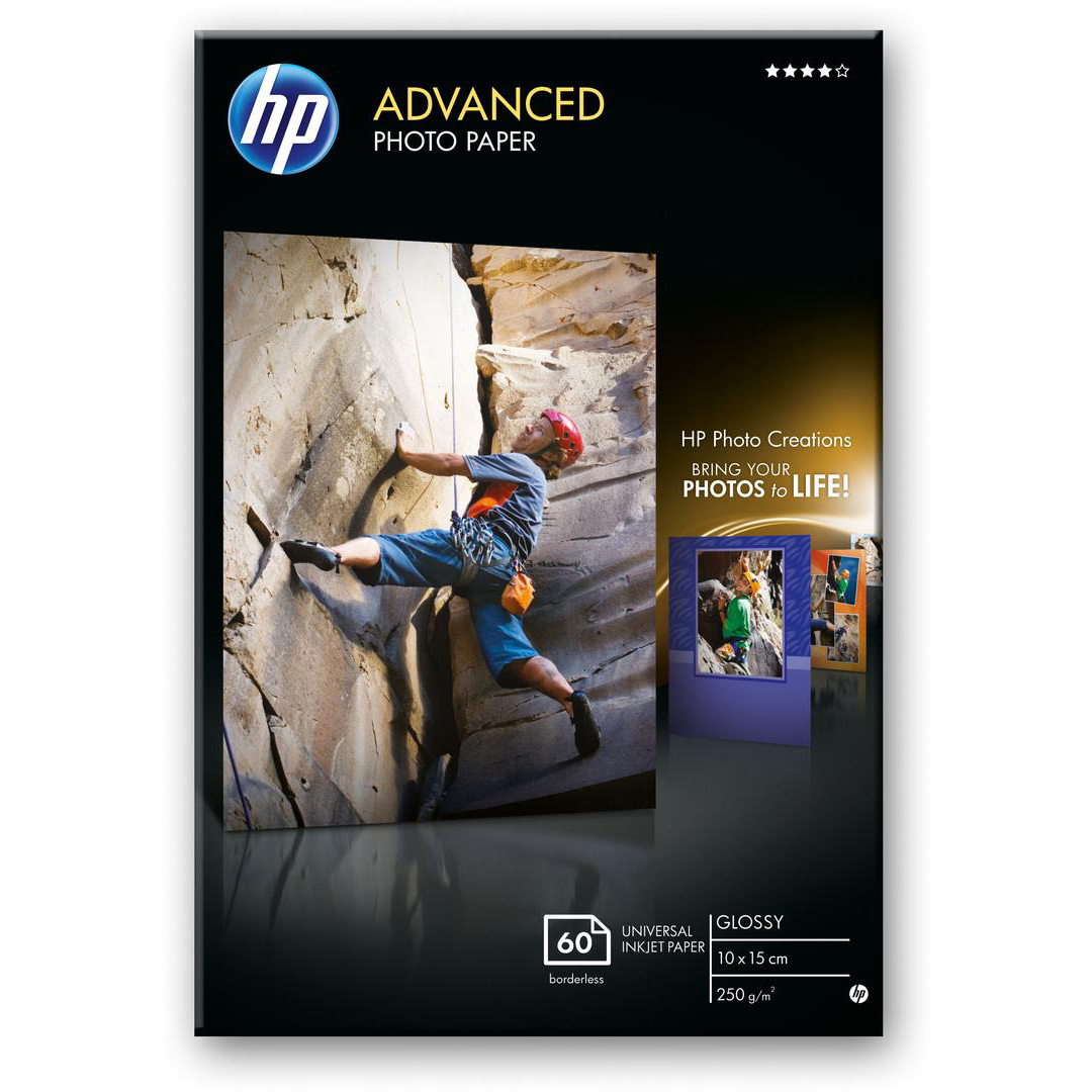 HP Advanced 10x15 cm Photo Paper Glossy Borderless 60Sh 250gsm White Ref Q8008A *3 to 5 Day Leadtime*
