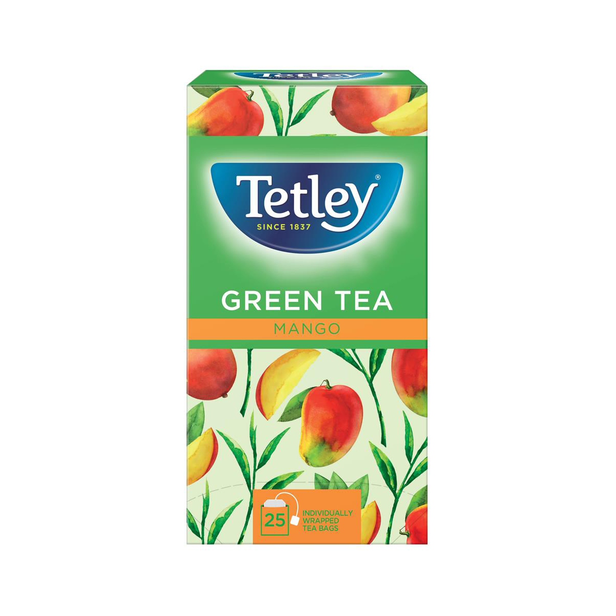 Tetley Individually Enveloped Tea Bags Green Tea with Mango Ref 1578a Pack 25