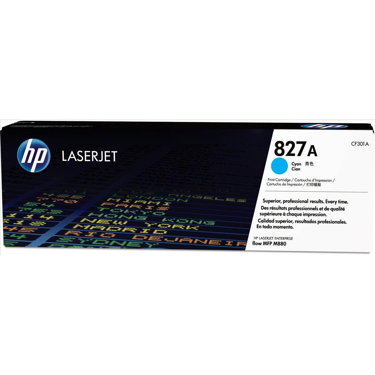 HP 827A Cyan Laserjet Toner Cartridge CF301A