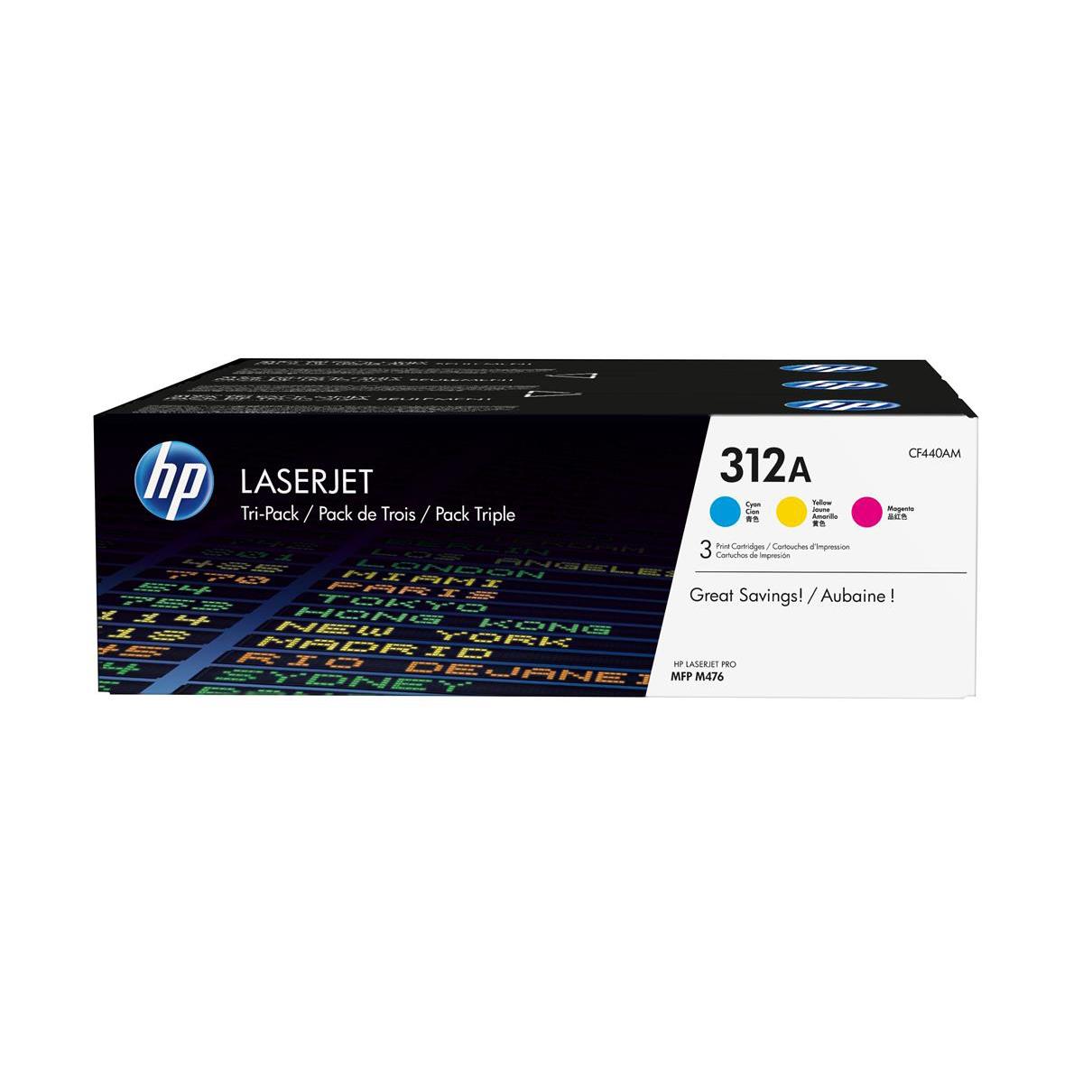 HP 312A Laser Toner Carts Page Life 2700pp Cyan/Magenta/Yellow Ref CF440AM [Pack 3]