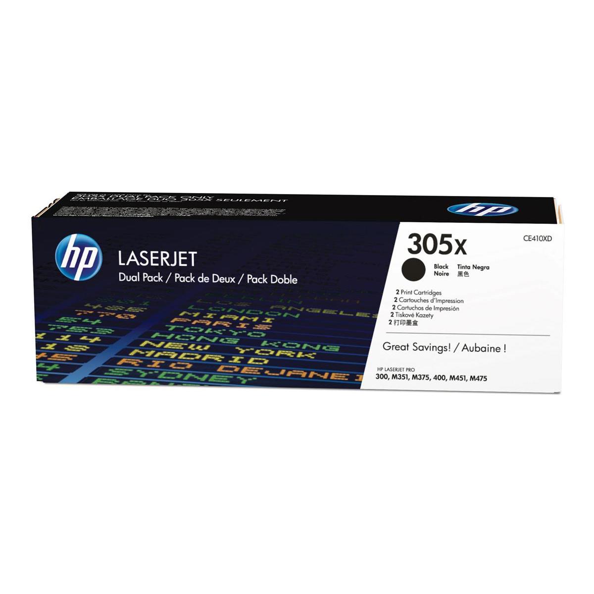 HP 305X LaserJet Toner Cartridges HighYield Page Life 4000pp Black Ref CE410XD [Pack 2]