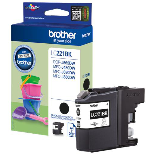 Brother LC221BK Inkjet Cartridge Page Life 260pp Black Ref LC221BK