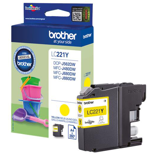 Brother LC221Y Inkjet Cartridge Page Life 260pp Yellow Ref LC221Y