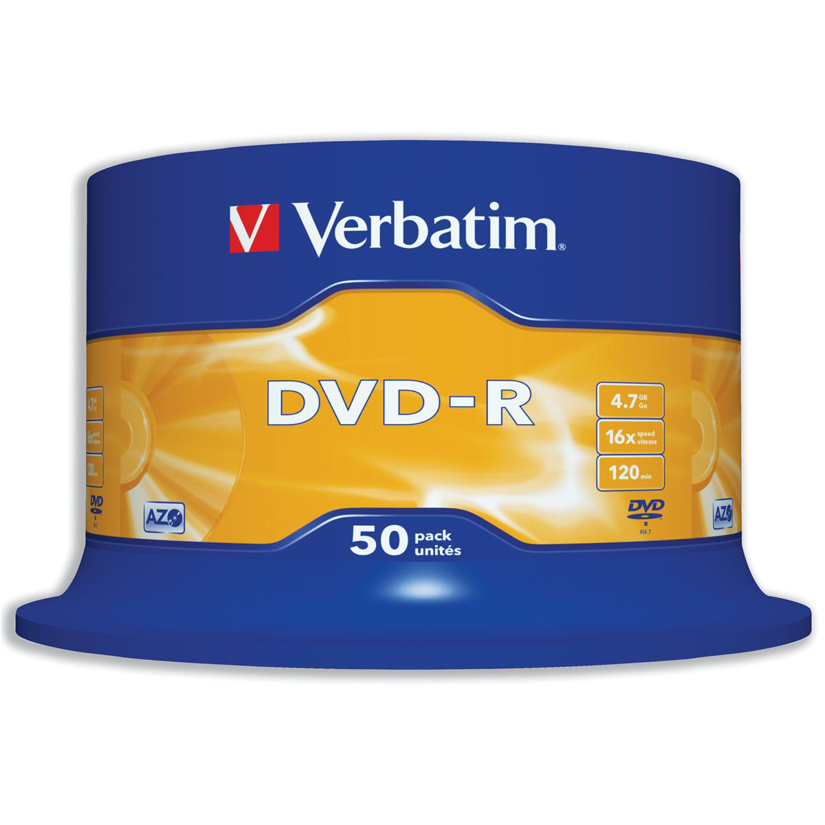 Digital versatile disks DVDs Verbatim DVD-R 4.7GB 16X Spindle Ref 43548 Pack 50