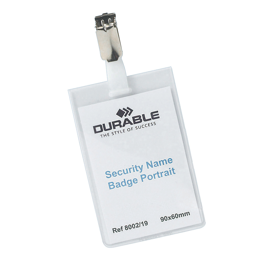 Durable Name Badges Security with Rotating Clip 90x60mm Ref 8002 Pack 25