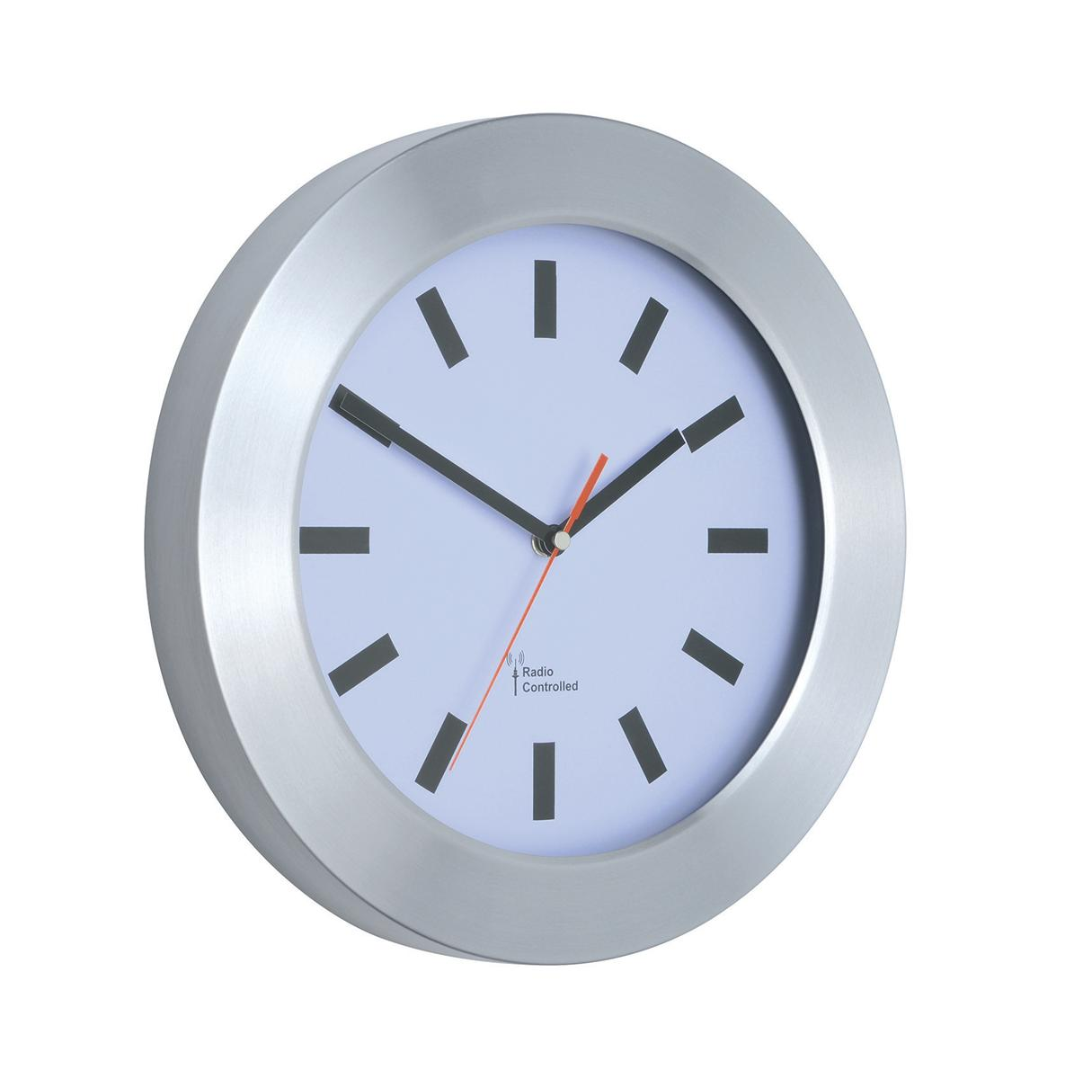 Image for Wall Clock Brushed Aluminium Case Diameter 300mm