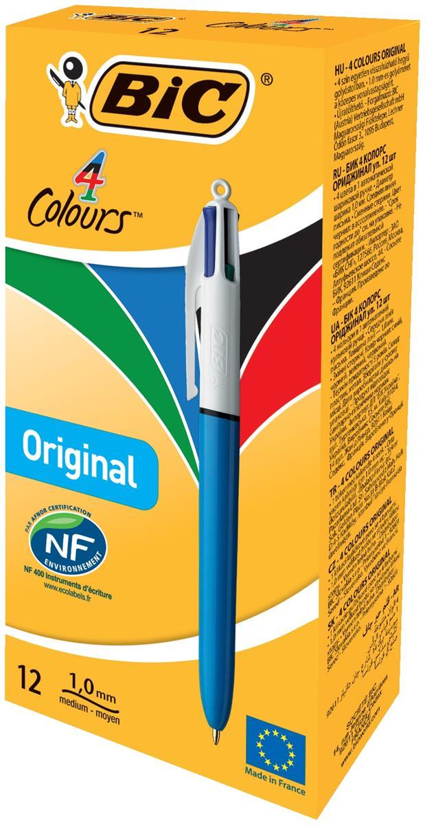 Bic 4-Colour Ball Pen 1.0mm Tip 0.3mm Line Blue Black Red Green Ref 802077/801867 [Pack 12]