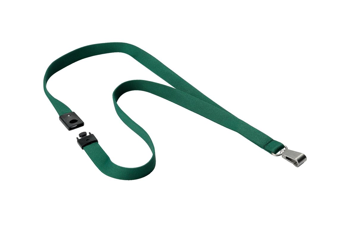 Durable Soft Textile Lanyard 15mmx440mm with 12mm Metal Snap Hook Dark Green Ref 812732 [Pack 10]
