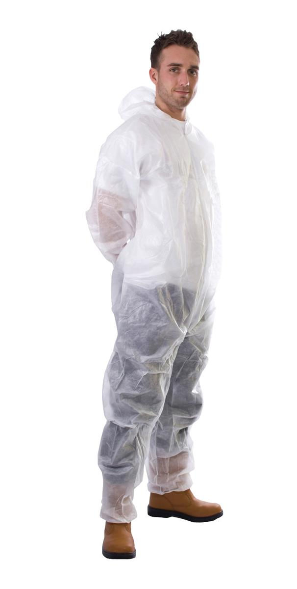 Supertouch Coverall Non-Woven PP Disposable with Zip Front Small White Ref 17401