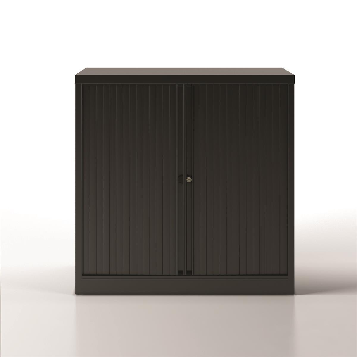 Image for Bisley Side Opening Tambour Door Cupboard H1000mm Black