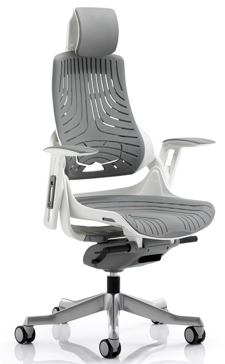 Image for Adroit Executive Chair Height-adjustable Arms Flat Packed Elastomer Grey