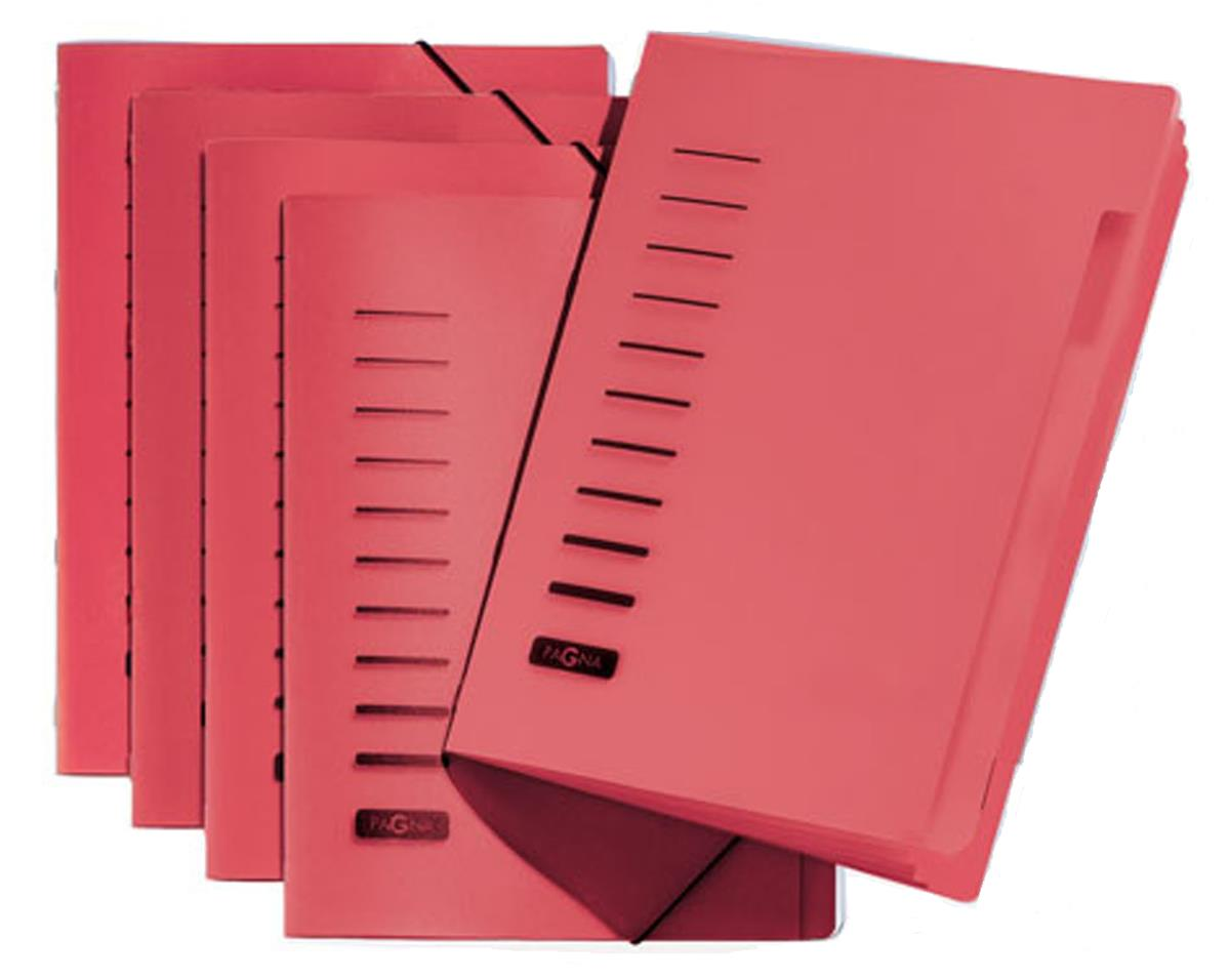 Image for Pagna Classic 6 Part File Elastic Corner Straps Polypropylene A4 Red Ref 4005601 [Pack 5]