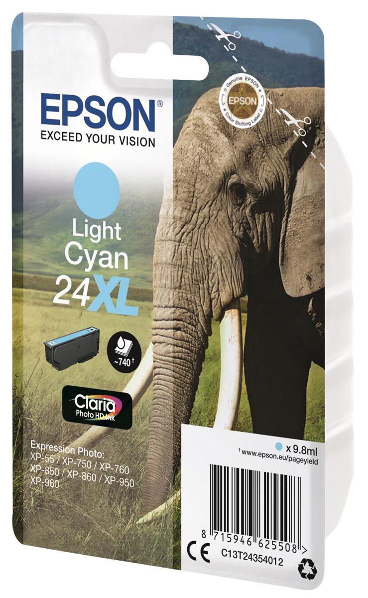 Epson 24XL Inkjet Cartridge Elephant 9.8ml 740pp Light Cyan Ref C13T24354012