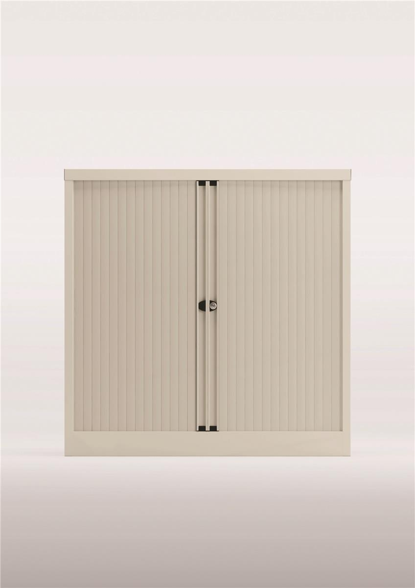 Image for Bisley Side Opening Tambour Door Cupboard H1000mm White