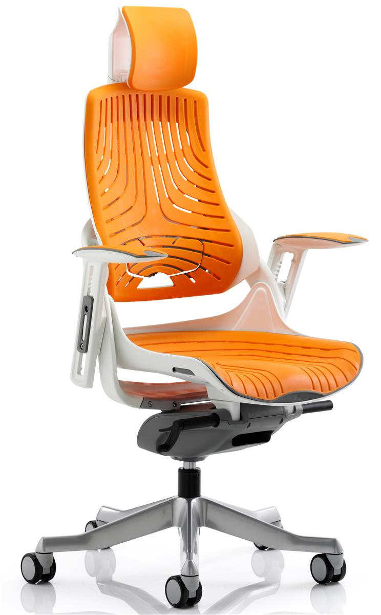 Image for Adroit Executive Chair Height-adjustable Arms Flat Packed Elastomer Orange