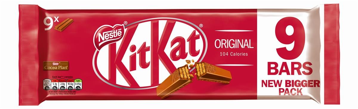 Nestle Kit Kat Bars Milk Chocolate 2 Fingers Ref 12339411 [Pack 9]