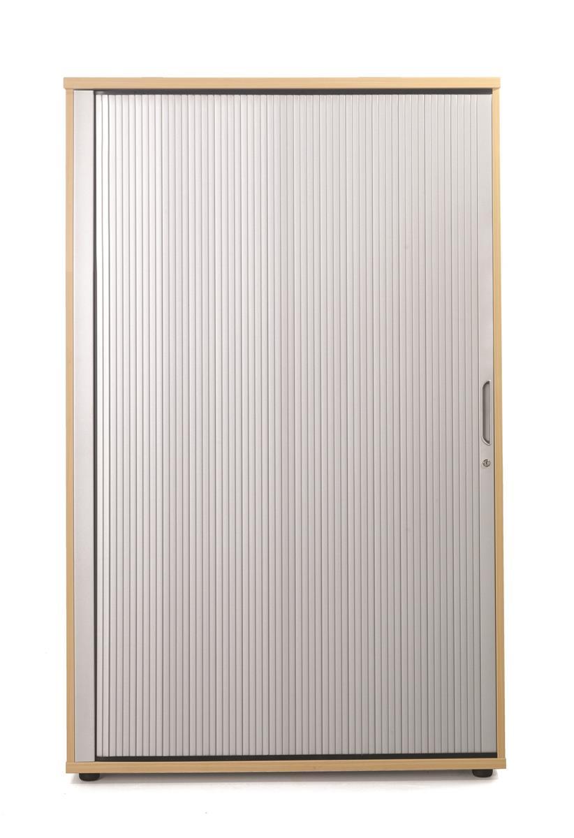 Image for Sonix Tambour Door Cupboard Medium Rich Beech/Silver