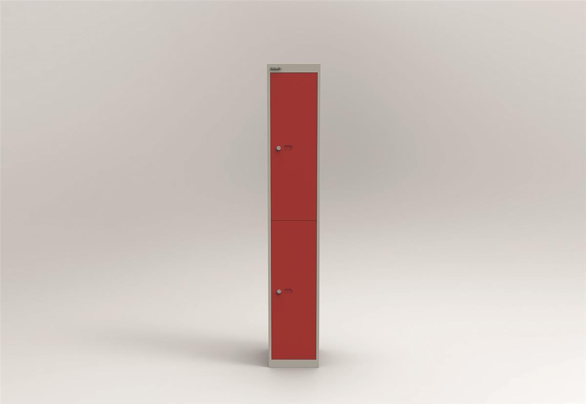 Image for Bisley Steel Locker 305 Two Door Grey/Red