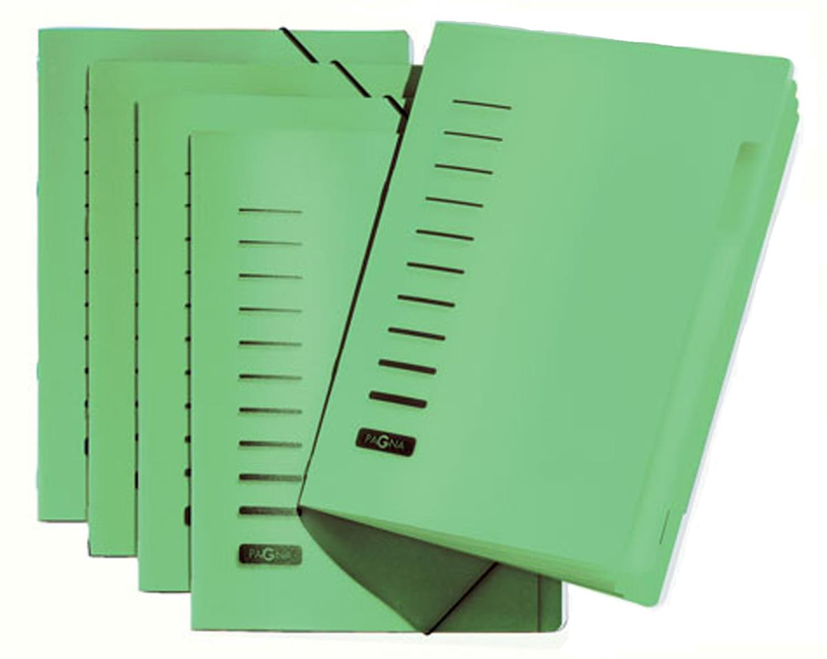 Image for Pagna Classic 6 Part File Elastic Corner Straps Polypropylene A4 Green Ref 4005603 [Pack 5]