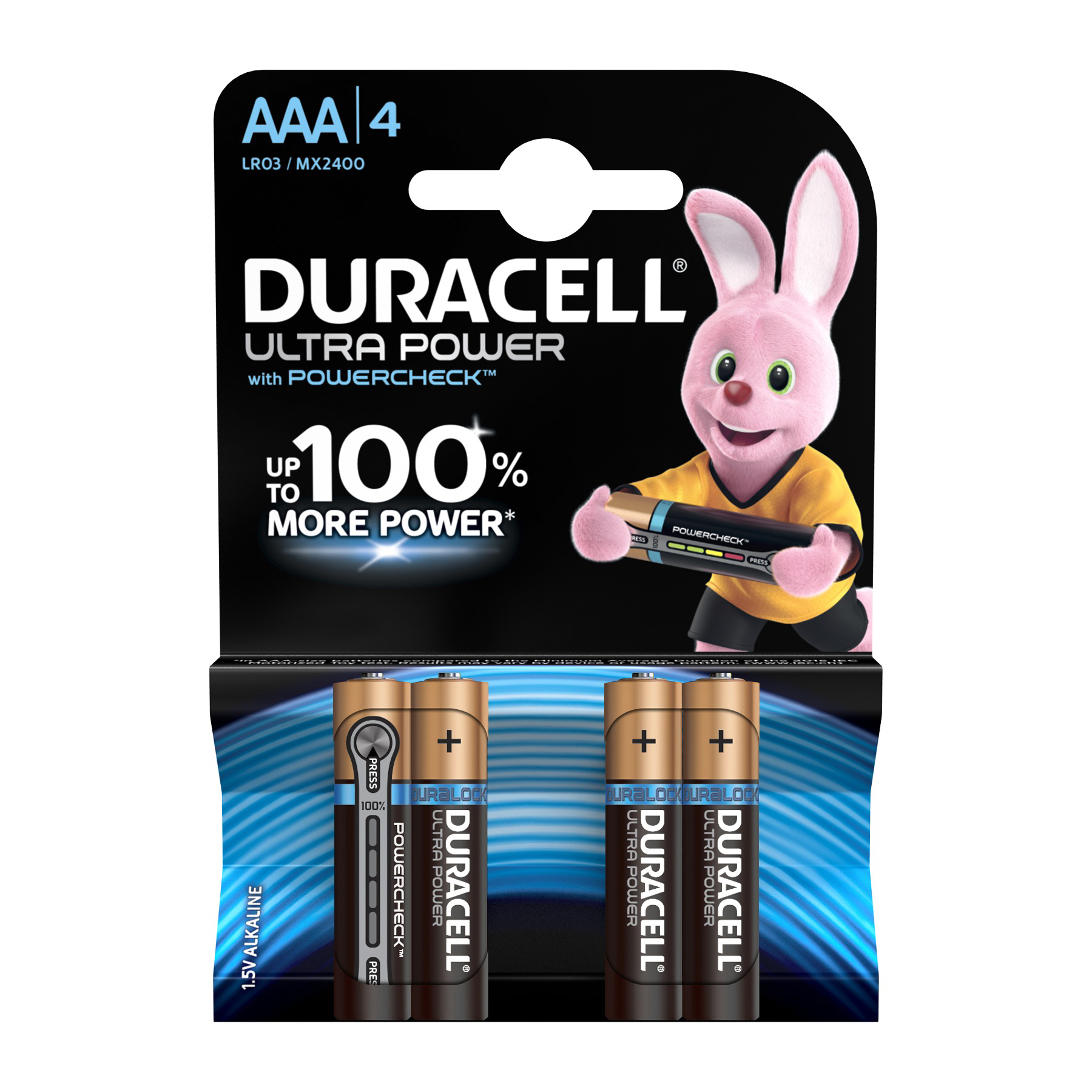 AAA Duracell Ultra Power MX2400 Battery Alkaline 1.5V AAA Ref 81417787 Pack 4