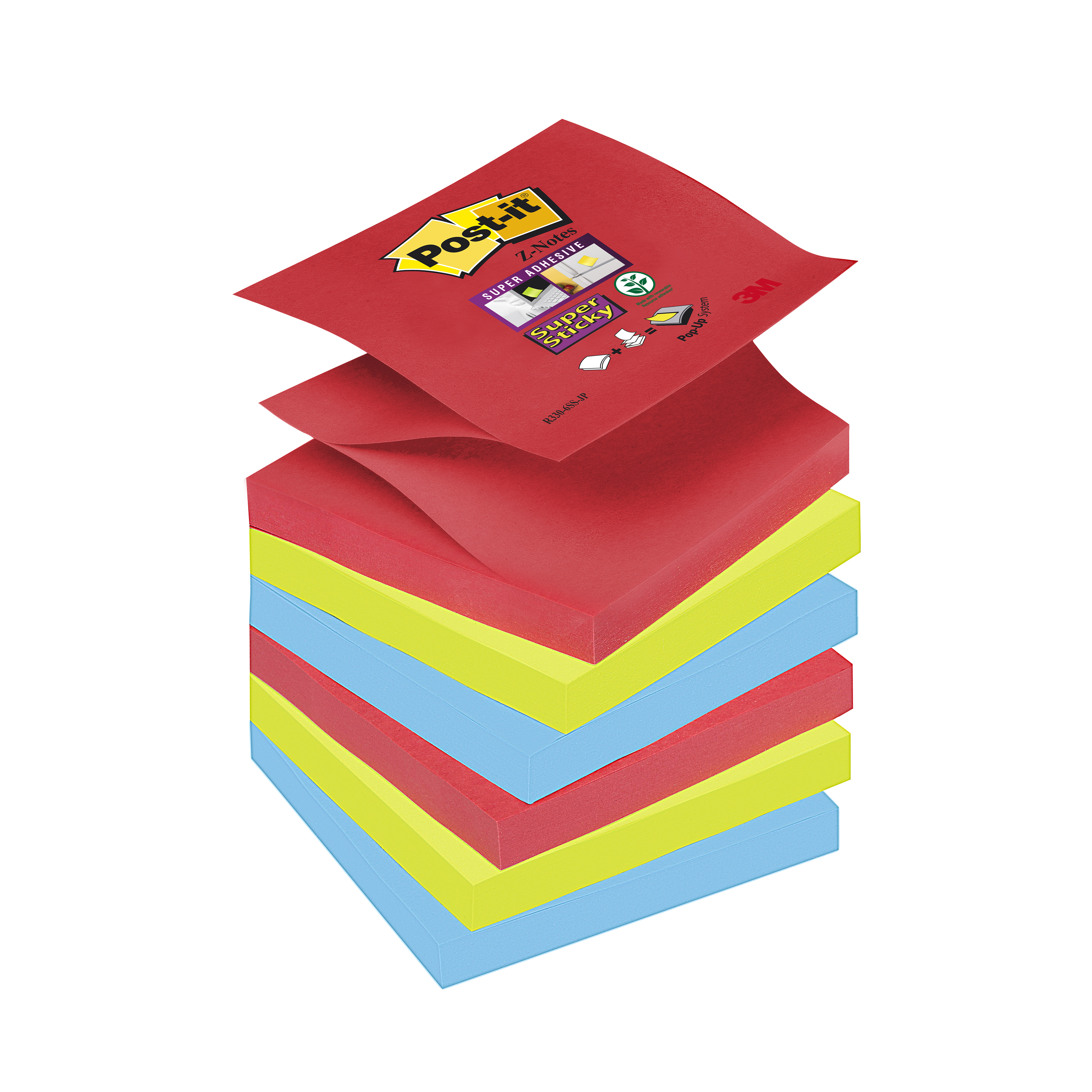 Self adhesive note paper Post-it Super Sticky Z-Notes Pad 90 Sheets BoraBora 76x76mm Ref R330-6SS-JP Pack 6