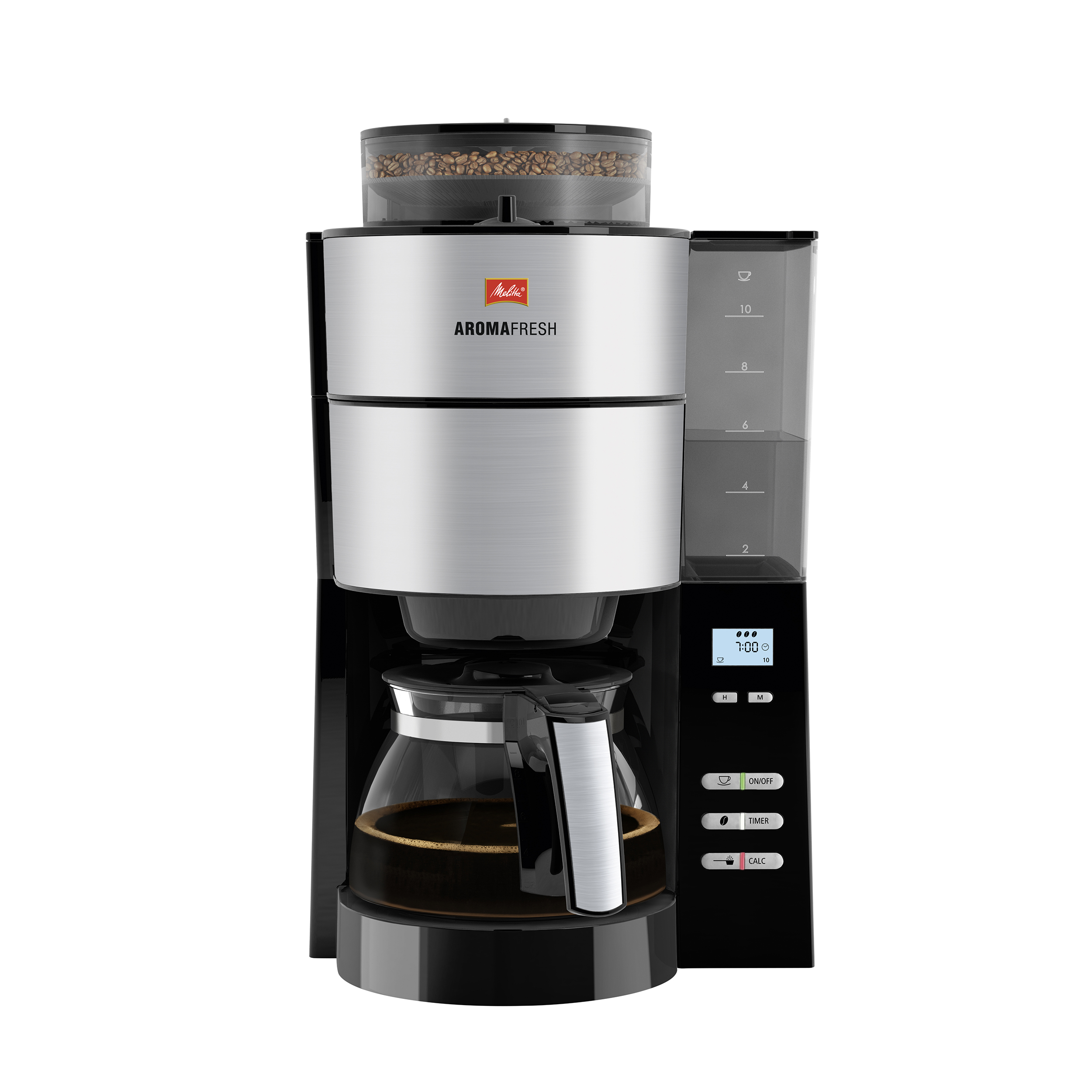 Coffee Machines & Accessories Melitta Aromafresh Grind & Brew Filter Coffee Machine Black/Stainless Steel Ref 6760642