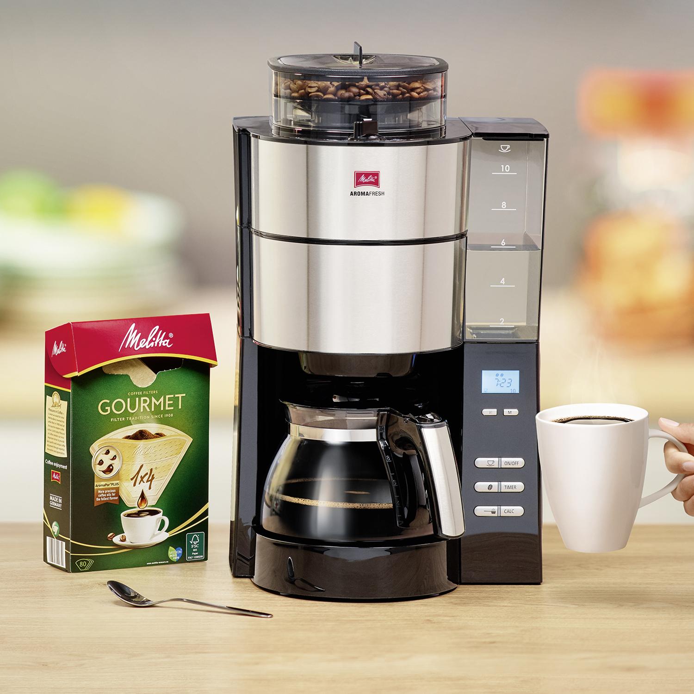 Melitta Aromafresh Grind & Brew Filter Coffee Machine Black/Stainless Steel Ref 6760642