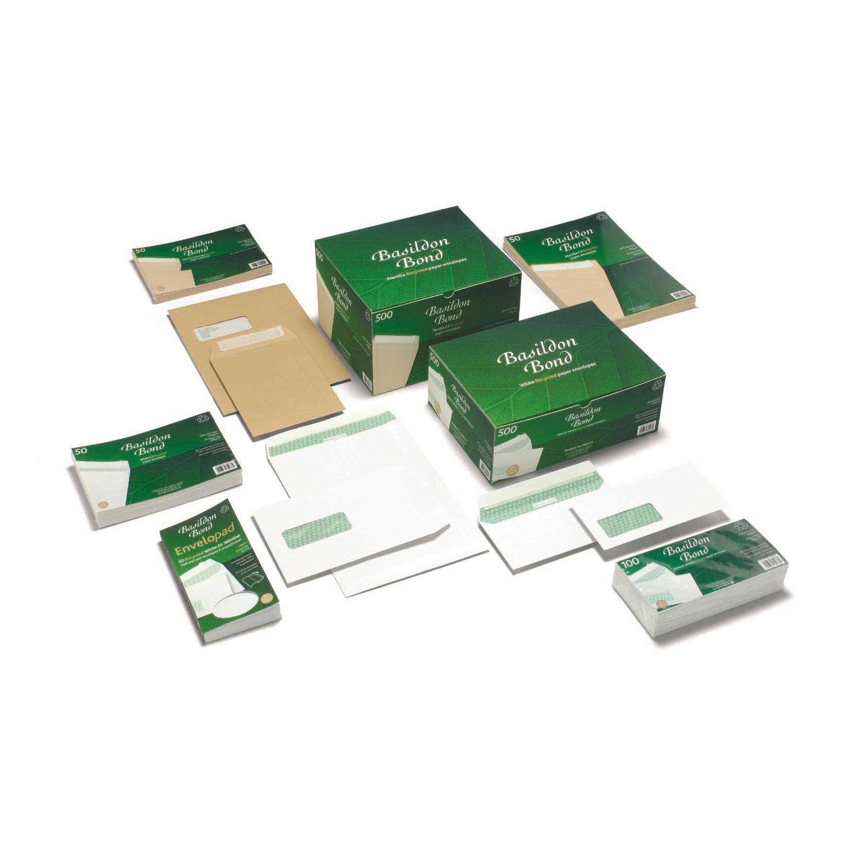 Basildon Bond Envelopes FSC Recycled Pocket P&S Window 120gsm C4 White Ref K80121 Pack 250