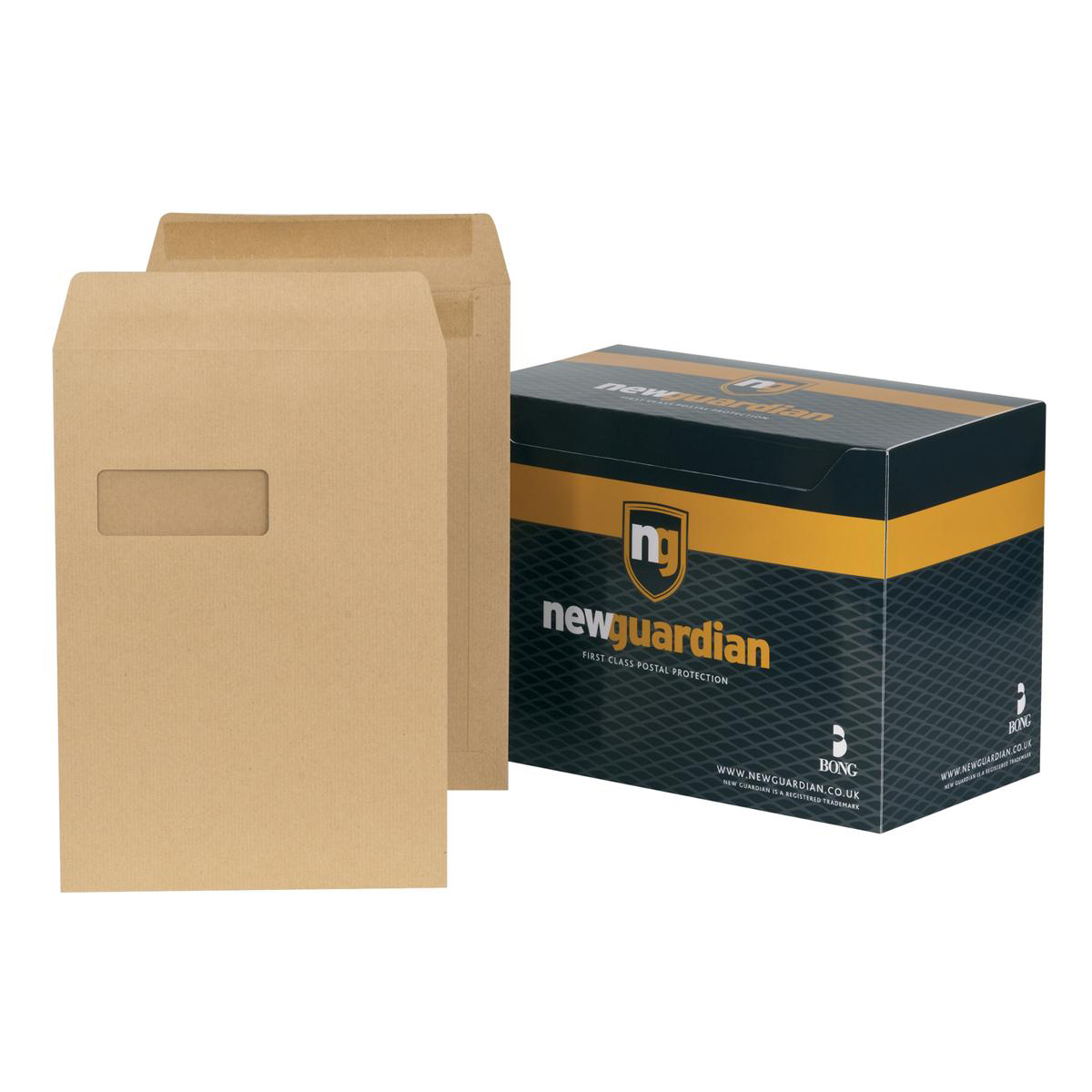 C4 New Guardian Envelopes Pocket Self Seal Window 130gsm C4 324x229mm Manilla Ref M27503 Pack 250