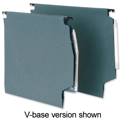 5 Star Office Lateral Suspension File Manilla 30mm Wide-base 180gsm Foolscap Green Pack 50