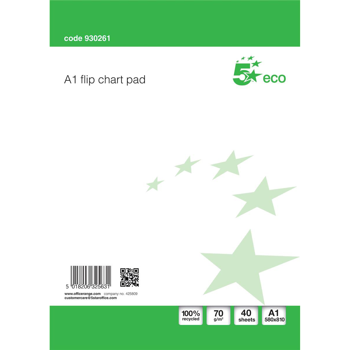 5 Star Eco Recycled Flipchart Pad Perforated 40 Sheets A1 White [Pack 5]