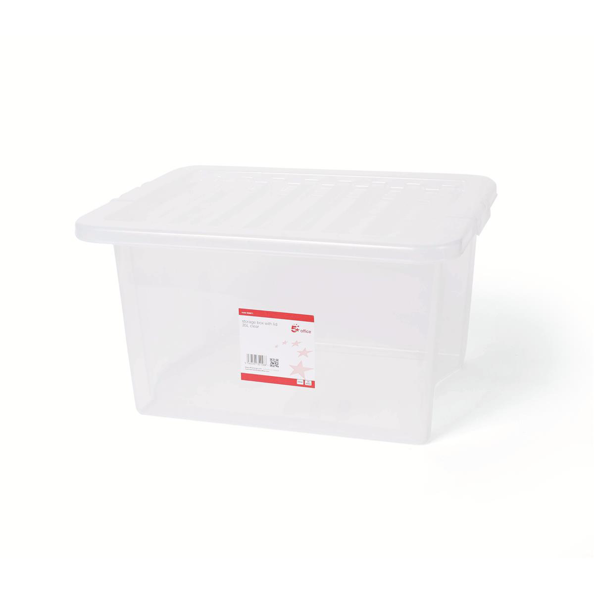 Storage Boxes 5 Star Office Storage Box Plastic with Lid Stackable 35 Litre Clear