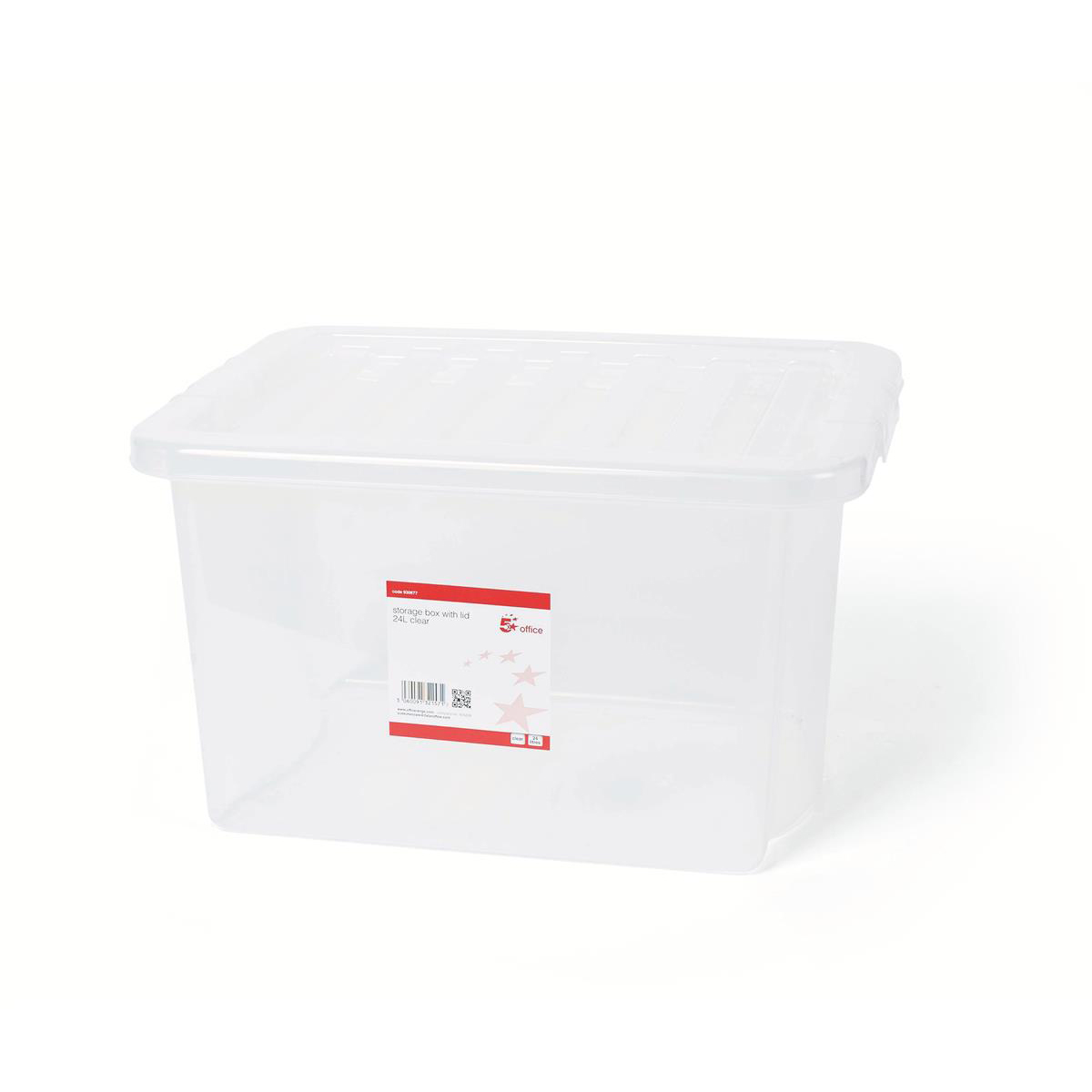 Storage Boxes 5 Star Office Storage Box Plastic with Lid Stackable 24 Litre Clear