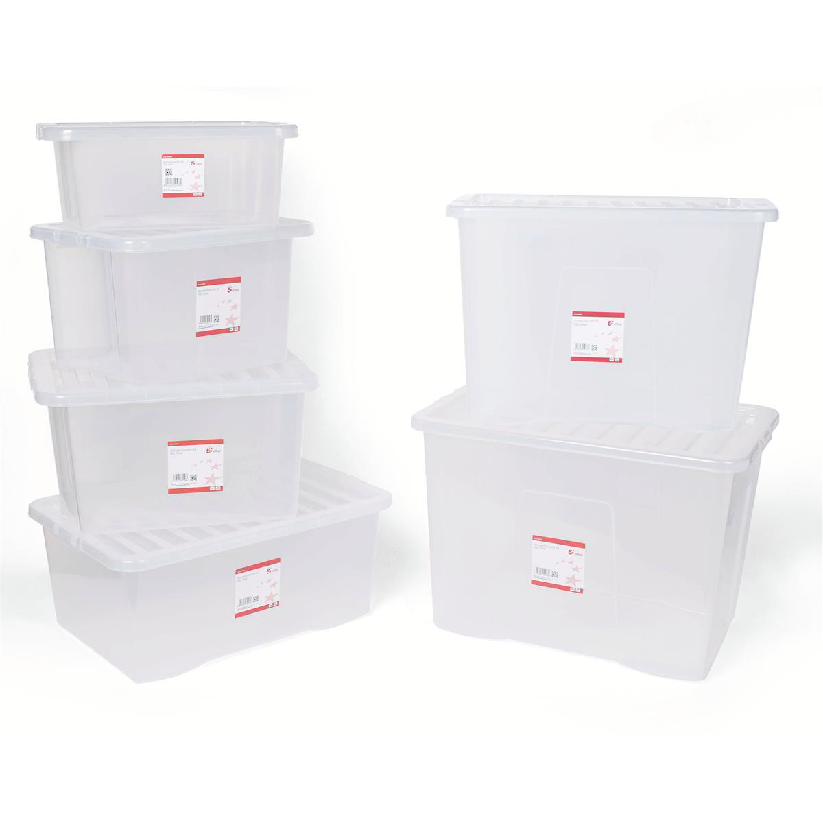 5 Star Office Storage Box Plastic with Lid Stackable 24 Litre Clear