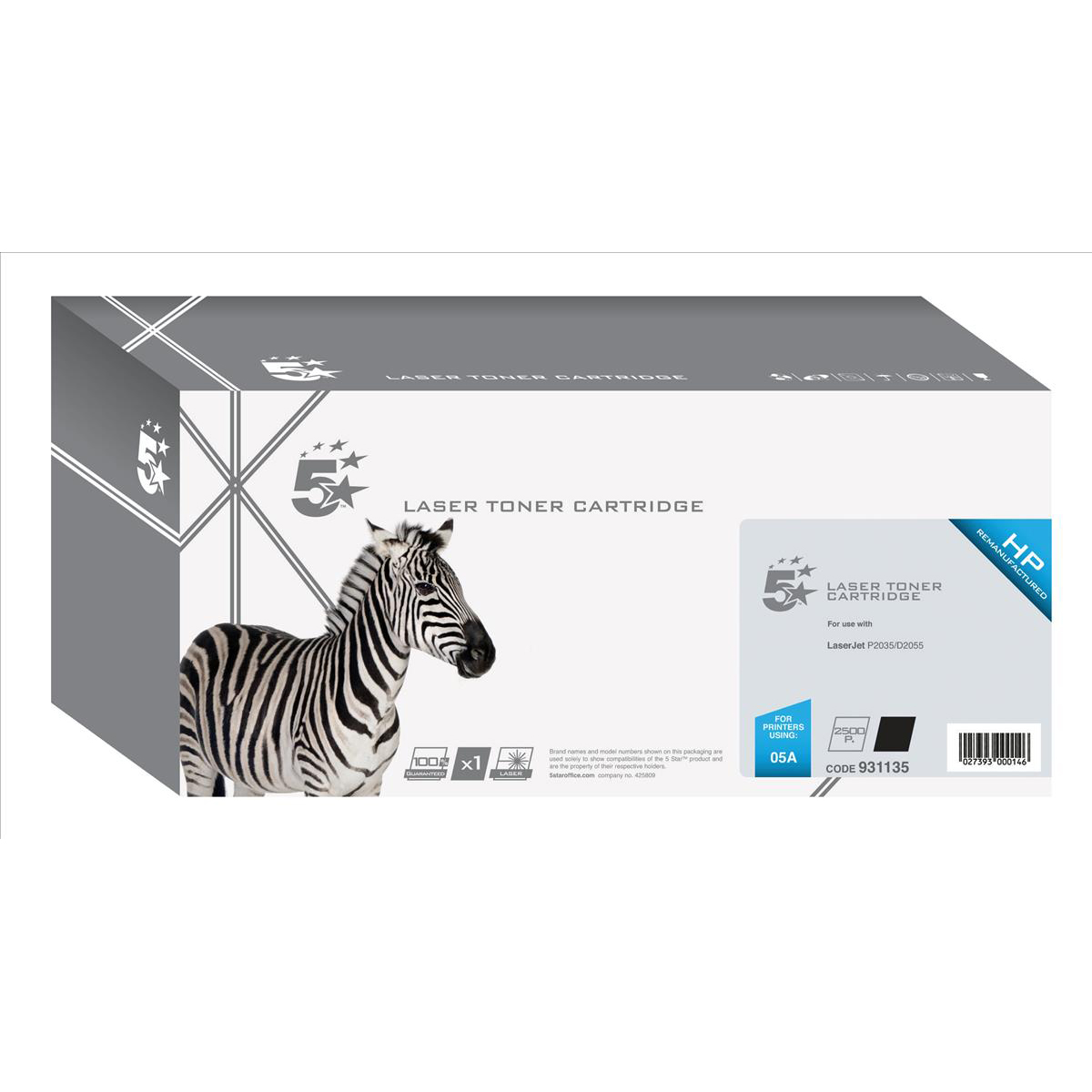 5 Star Office Remanufactured Laser Toner Cartridge 2300pp Black [HP 05A CE505A Alternative]