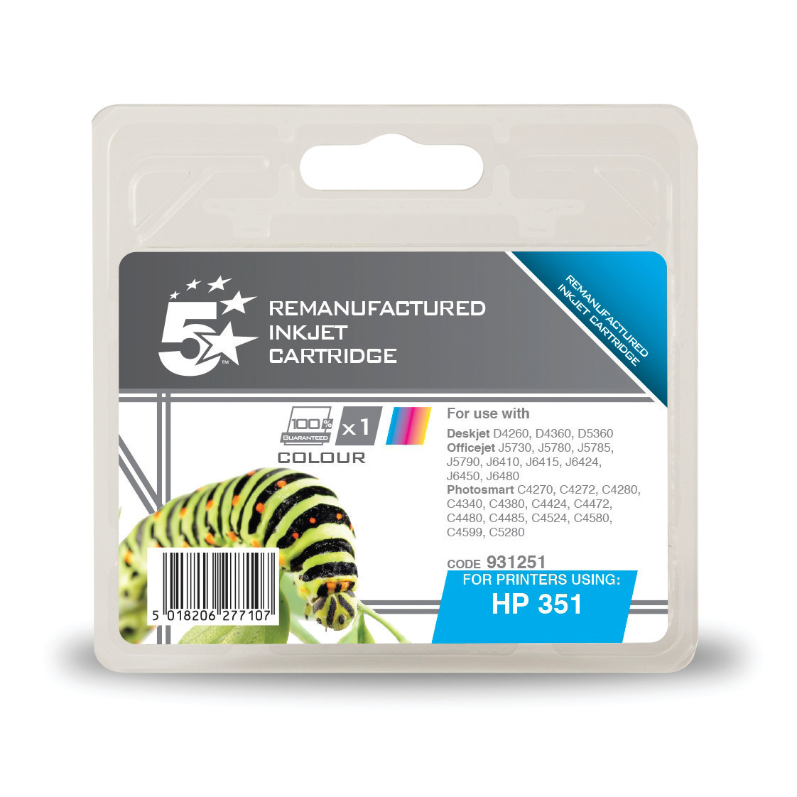 5 Star Office Remanufactured InkjetCart Page Life 170pp 3.5ml Tri-Colour [HP No.351 CB337EE Alternative]